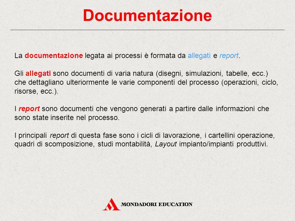 Documentazione La documentazione legata ai processi è formata da allegati e report. Gli allegati sono documenti di varia natura (disegni, simulazioni,