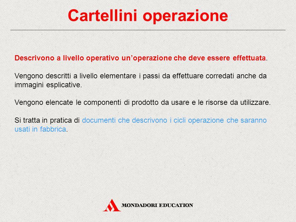 Cartellini operazione Descrivono a livello operativo un'operazione che deve essere effettuata. Vengono descritti a livello elementare i passi da effet