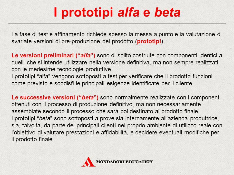 I prototipi alfa e beta La fase di test e affinamento richiede spesso la messa a punto e la valutazione di svariate versioni di pre-produzione del pro