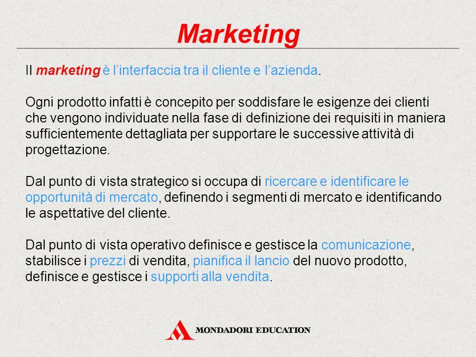 Marketing Il marketing è l'interfaccia tra il cliente e l'azienda. Ogni prodotto infatti è concepito per soddisfare le esigenze dei clienti che vengon