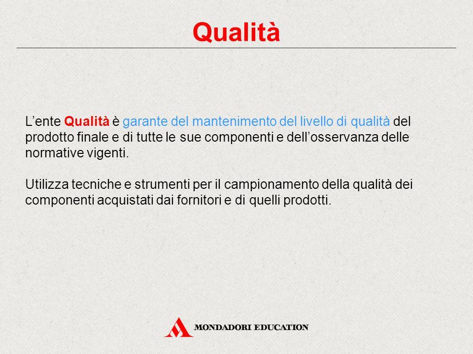 Qualità L'ente Qualità è garante del mantenimento del livello di qualità del prodotto finale e di tutte le sue componenti e dell'osservanza delle norm
