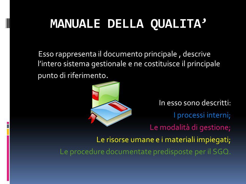 MANUALE DELLA QUALITA' Esso rappresenta il documento principale, descrive l'intero sistema gestionale e ne costituisce il principale punto di riferime
