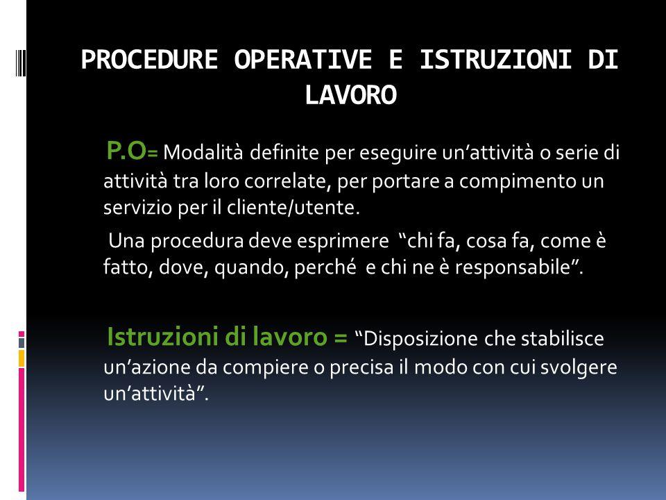 PROCEDURE OPERATIVE E ISTRUZIONI DI LAVORO P.O = Modalità definite per eseguire un'attività o serie di attività tra loro correlate, per portare a comp