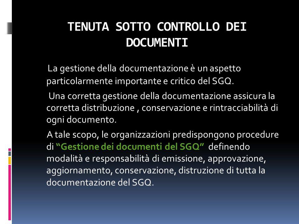TENUTA SOTTO CONTROLLO DEI DOCUMENTI La gestione della documentazione è un aspetto particolarmente importante e critico del SGQ. Una corretta gestione