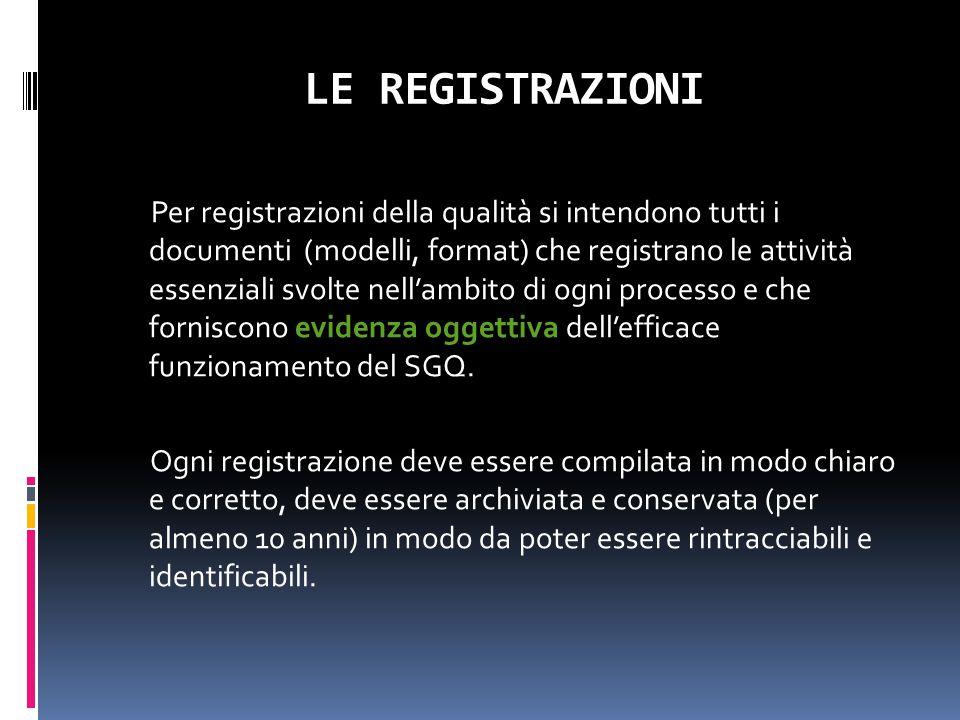 LE REGISTRAZIONI Per registrazioni della qualità si intendono tutti i documenti (modelli, format) che registrano le attività essenziali svolte nell'am