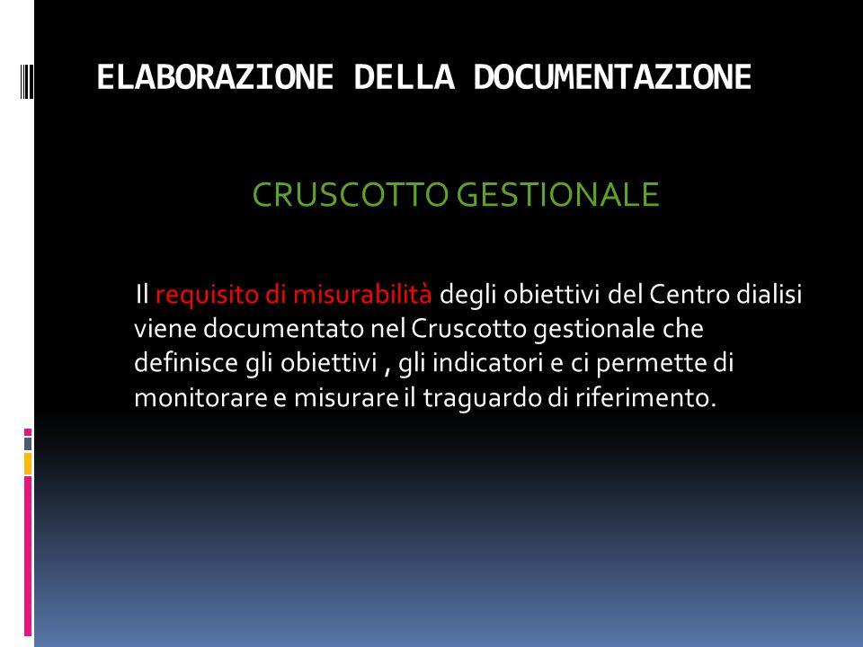 ELABORAZIONE DELLA DOCUMENTAZIONE CRUSCOTTO GESTIONALE Il requisito di misurabilità degli obiettivi del Centro dialisi viene documentato nel Cruscotto