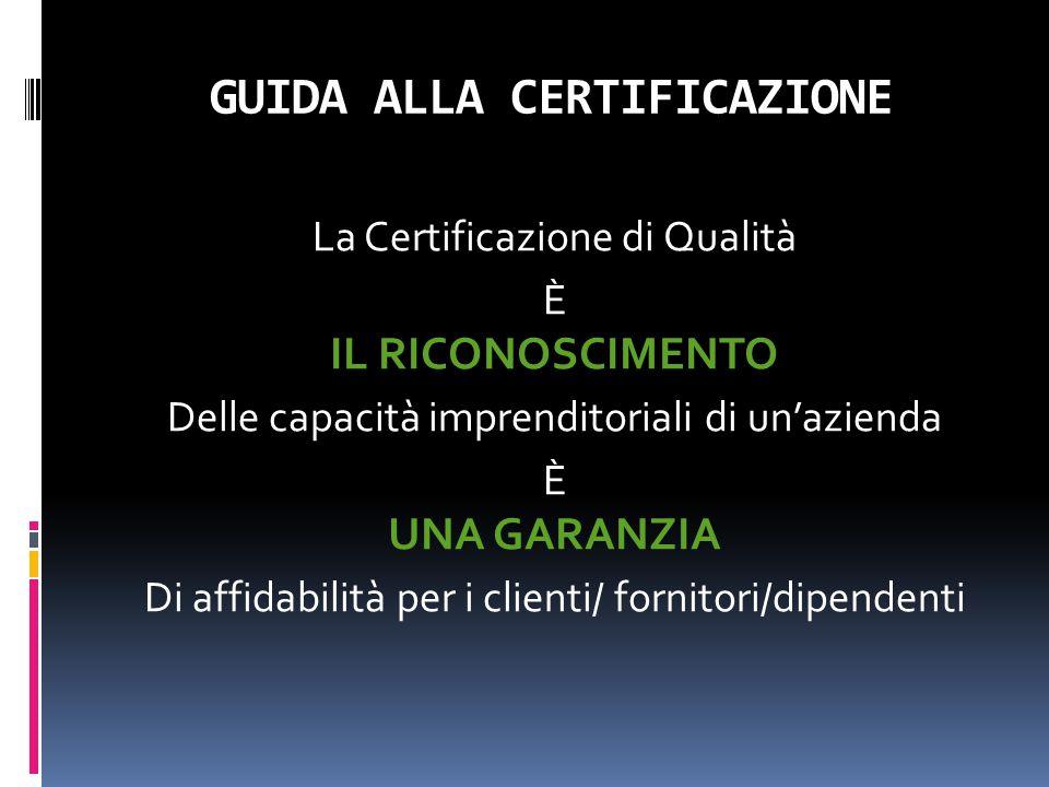 GUIDA ALLA CERTIFICAZIONE La Certificazione di Qualità È IL RICONOSCIMENTO Delle capacità imprenditoriali di un'azienda È UNA GARANZIA Di affidabilità