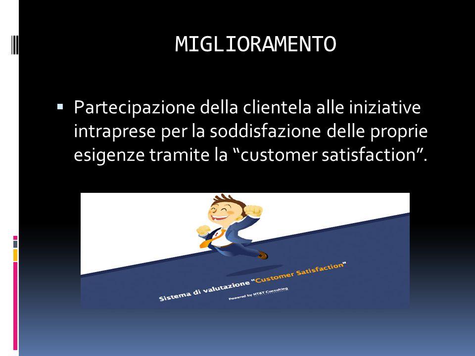 """MIGLIORAMENTO  Partecipazione della clientela alle iniziative intraprese per la soddisfazione delle proprie esigenze tramite la """"customer satisfactio"""
