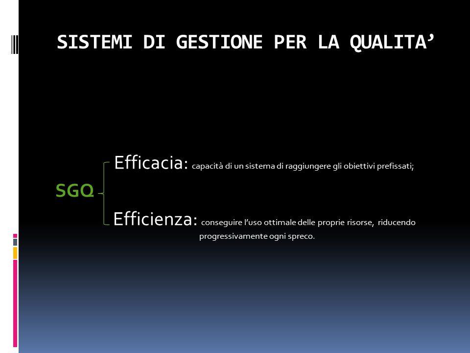 SISTEMI DI GESTIONE PER LA QUALITA' Efficacia: capacità di un sistema di raggiungere gli obiettivi prefissati; SGQ Efficienza: conseguire l'uso ottima