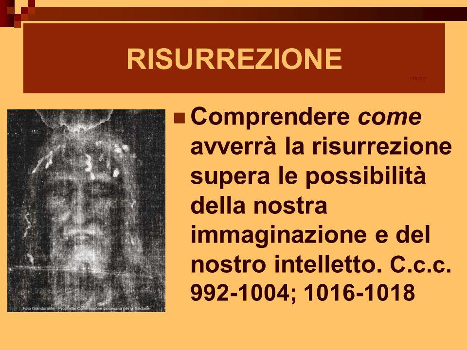 RISURREZIONE Comprendere come avverrà la risurrezione supera le possibilità della nostra immaginazione e del nostro intelletto. C.c.c. 992-1004; 1016-
