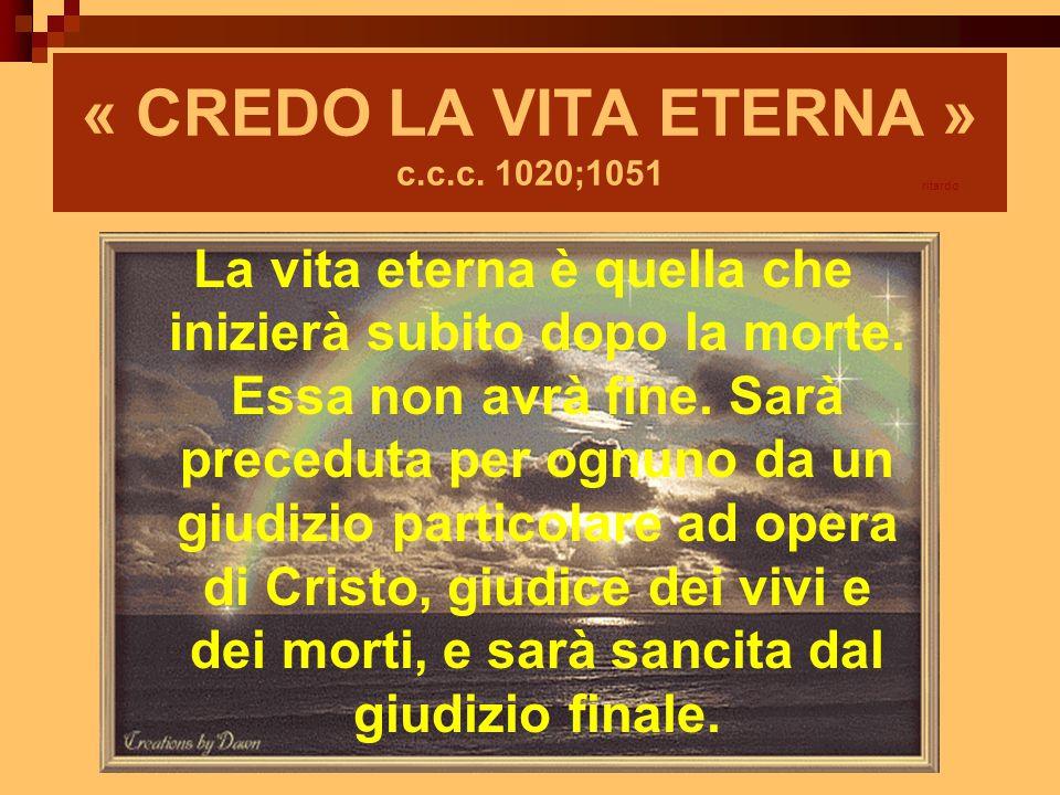 « CREDO LA VITA ETERNA » c.c.c. 1020;1051 La vita eterna è quella che inizierà subito dopo la morte. Essa non avrà fine. Sarà preceduta per ognuno da