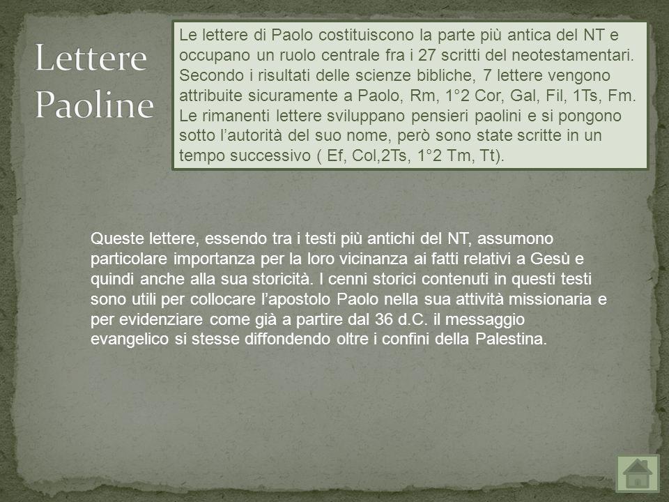 Le lettere di Paolo costituiscono la parte più antica del NT e occupano un ruolo centrale fra i 27 scritti del neotestamentari.