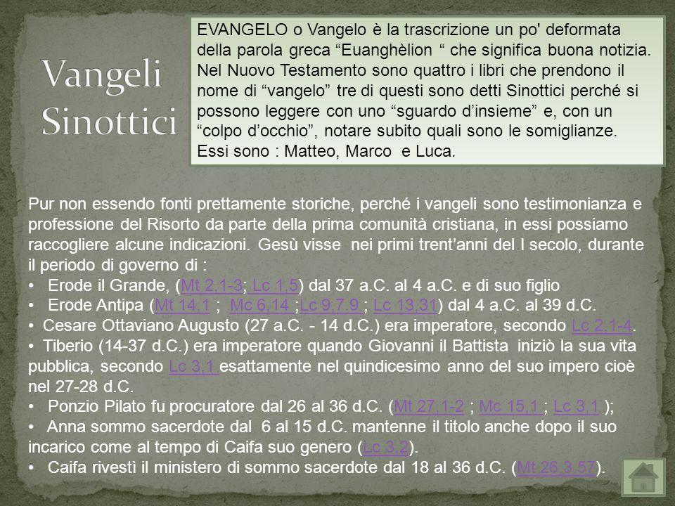 EVANGELO o Vangelo è la trascrizione un po deformata della parola greca Euanghèlion che significa buona notizia.