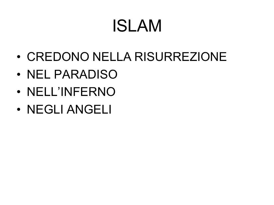 ISLAM CREDONO NELLA RISURREZIONE NEL PARADISO NELL'INFERNO NEGLI ANGELI