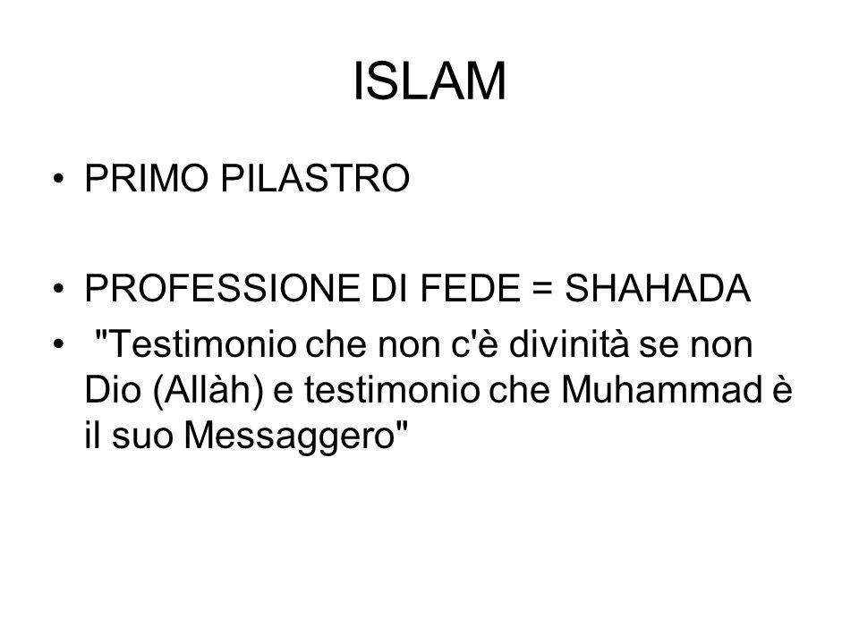 ISLAM PRIMO PILASTRO PROFESSIONE DI FEDE = SHAHADA