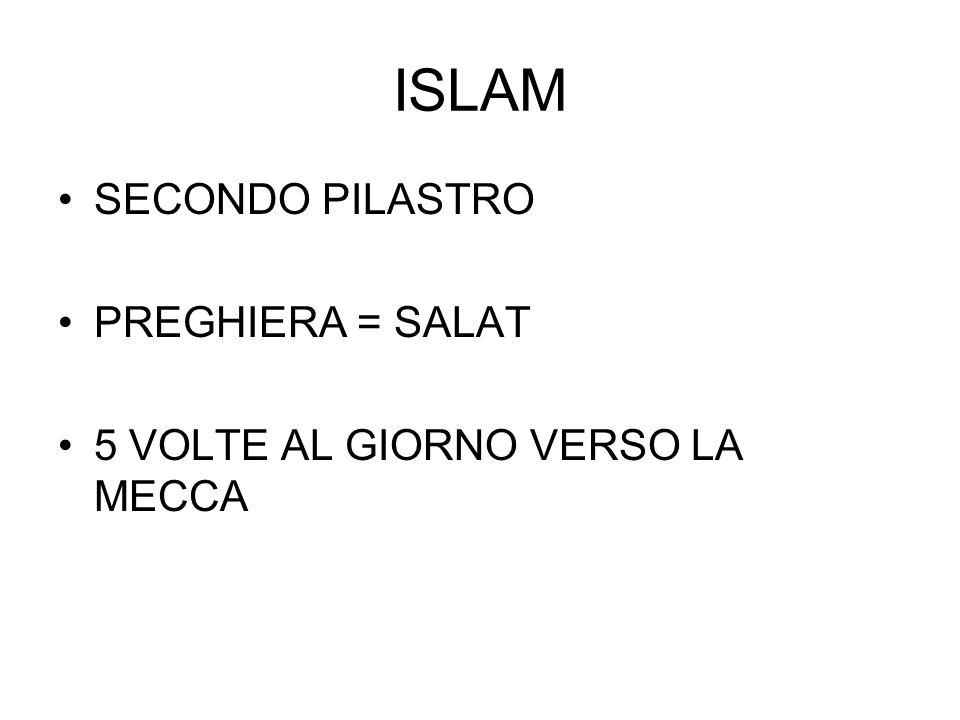 ISLAM SECONDO PILASTRO PREGHIERA = SALAT 5 VOLTE AL GIORNO VERSO LA MECCA
