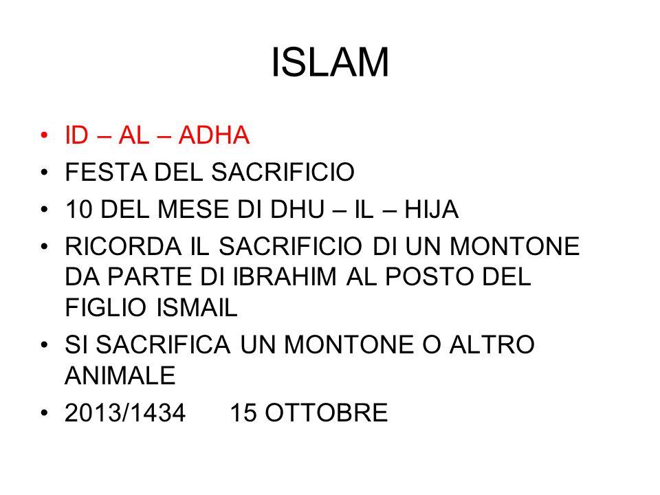 ISLAM ID – AL – ADHA FESTA DEL SACRIFICIO 10 DEL MESE DI DHU – IL – HIJA RICORDA IL SACRIFICIO DI UN MONTONE DA PARTE DI IBRAHIM AL POSTO DEL FIGLIO I