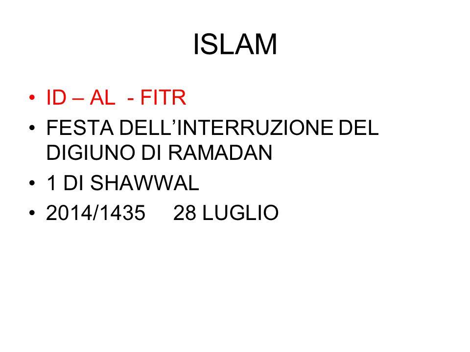 ISLAM ID – AL - FITR FESTA DELL'INTERRUZIONE DEL DIGIUNO DI RAMADAN 1 DI SHAWWAL 2014/1435 28 LUGLIO