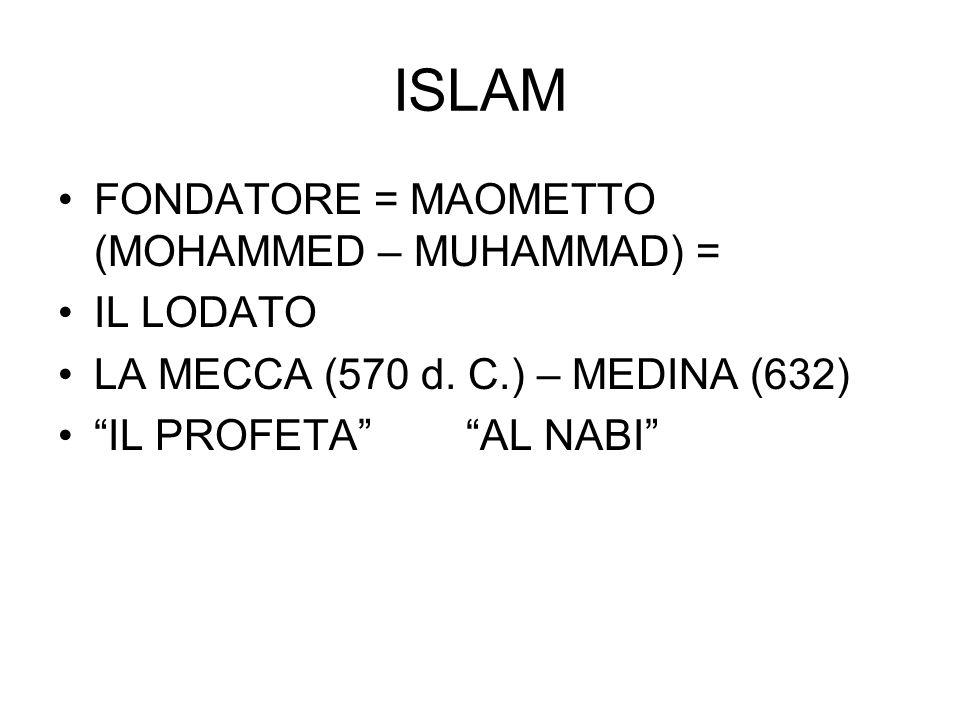 """ISLAM FONDATORE = MAOMETTO (MOHAMMED – MUHAMMAD) = IL LODATO LA MECCA (570 d. C.) – MEDINA (632) """"IL PROFETA"""" """"AL NABI"""""""