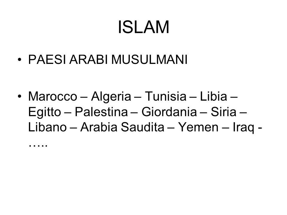 ISLAM PAESI ARABI MUSULMANI Marocco – Algeria – Tunisia – Libia – Egitto – Palestina – Giordania – Siria – Libano – Arabia Saudita – Yemen – Iraq - ….