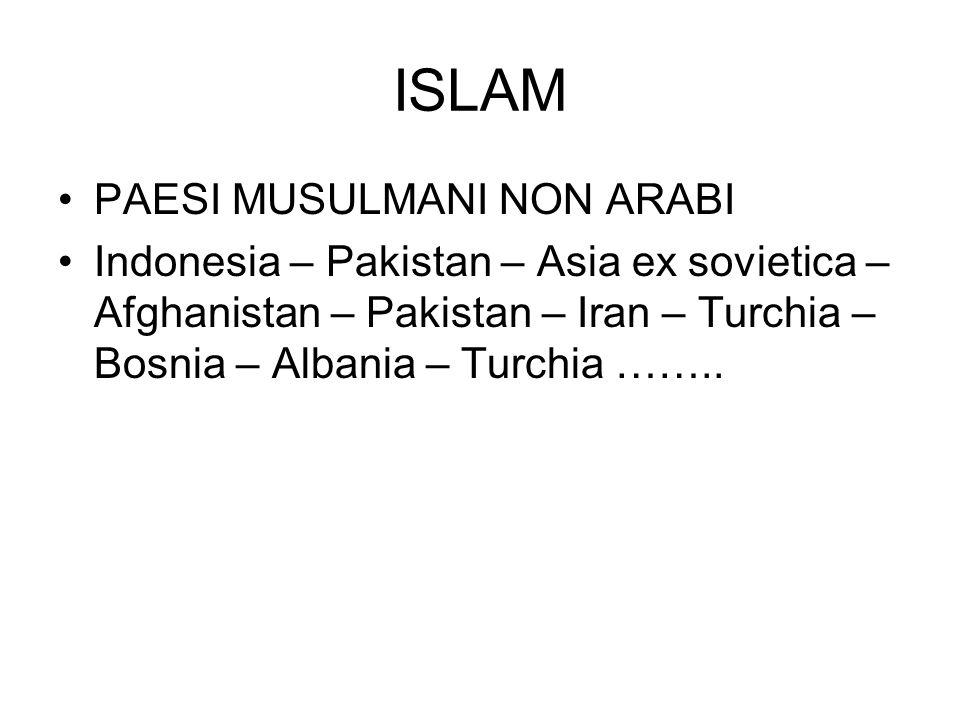 ISLAM PAESI MUSULMANI NON ARABI Indonesia – Pakistan – Asia ex sovietica – Afghanistan – Pakistan – Iran – Turchia – Bosnia – Albania – Turchia ……..