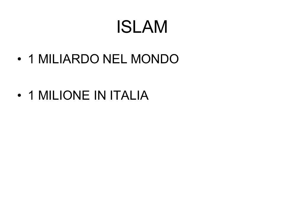 ISLAM 1 MILIARDO NEL MONDO 1 MILIONE IN ITALIA