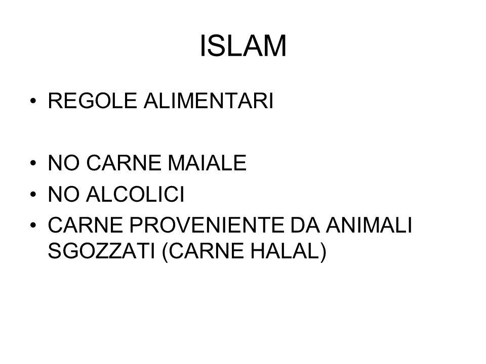 ISLAM REGOLE ALIMENTARI NO CARNE MAIALE NO ALCOLICI CARNE PROVENIENTE DA ANIMALI SGOZZATI (CARNE HALAL)