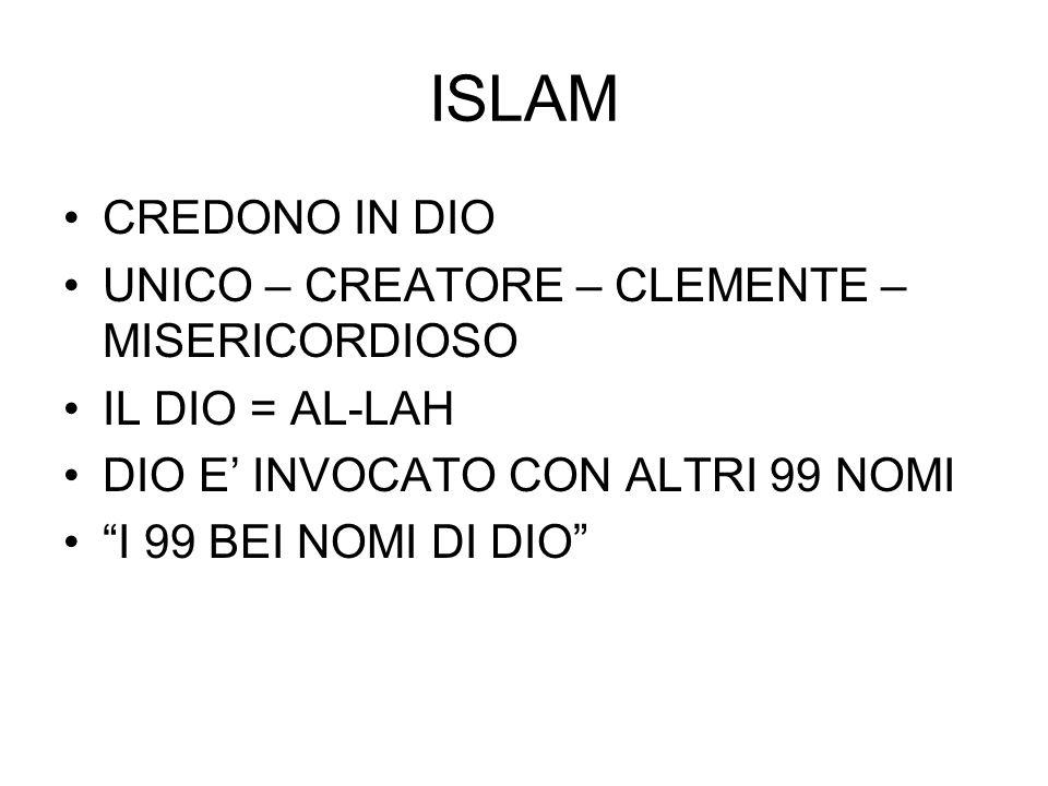 """ISLAM CREDONO IN DIO UNICO – CREATORE – CLEMENTE – MISERICORDIOSO IL DIO = AL-LAH DIO E' INVOCATO CON ALTRI 99 NOMI """"I 99 BEI NOMI DI DIO"""""""