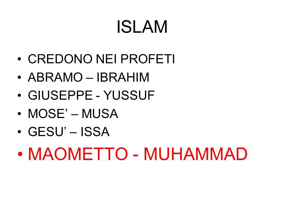 ISLAM CREDONO NEI PROFETI ABRAMO – IBRAHIM GIUSEPPE - YUSSUF MOSE' – MUSA GESU' – ISSA MAOMETTO - MUHAMMAD