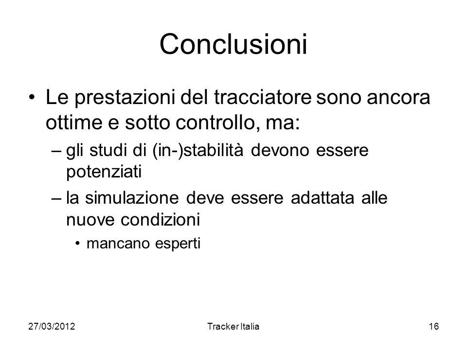 27/03/2012Tracker Italia16 Conclusioni Le prestazioni del tracciatore sono ancora ottime e sotto controllo, ma: –gli studi di (in-)stabilità devono essere potenziati –la simulazione deve essere adattata alle nuove condizioni mancano esperti