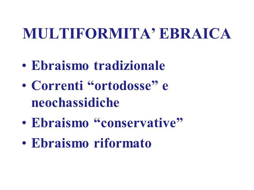"""MULTIFORMITA' EBRAICA Ebraismo tradizionale Correnti """"ortodosse"""" e neochassidiche Ebraismo """"conservative"""" Ebraismo riformato"""