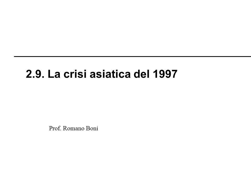 R. Boni Lez. 2.1 - 144 Prof. Romano Boni 2.9. La crisi asiatica del 1997