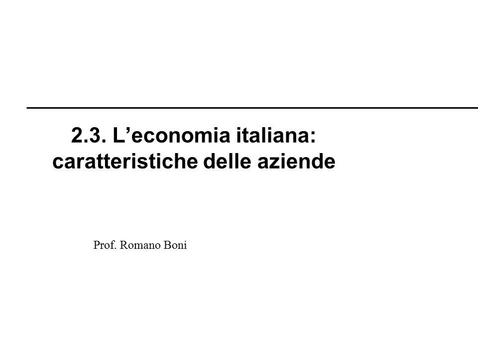 Prof. Romano Boni 2.3. L'economia italiana: caratteristiche delle aziende