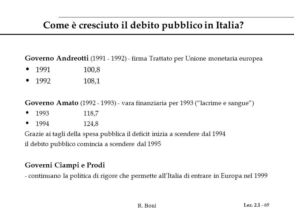 R.Boni Lez. 2.1 - 69 Come è cresciuto il debito pubblico in Italia.