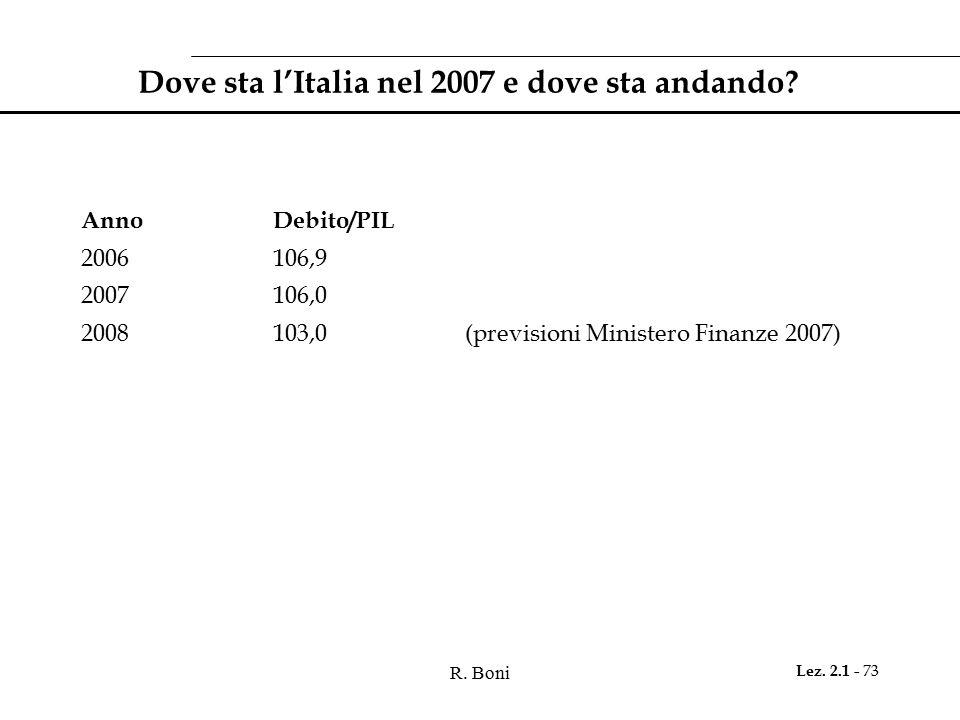 R.Boni Lez. 2.1 - 73 Dove sta l'Italia nel 2007 e dove sta andando.