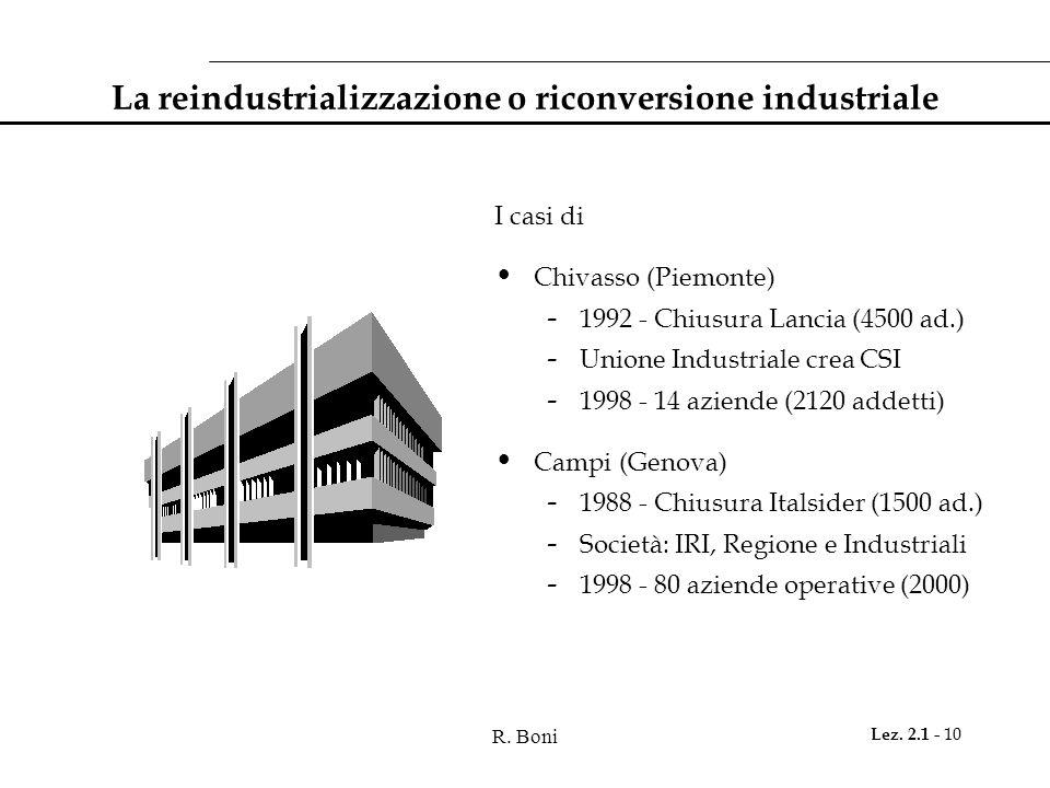 R. Boni Lez. 2.1 - 10 La reindustrializzazione o riconversione industriale I casi di Chivasso (Piemonte) - 1992 - Chiusura Lancia (4500 ad.) - Unione