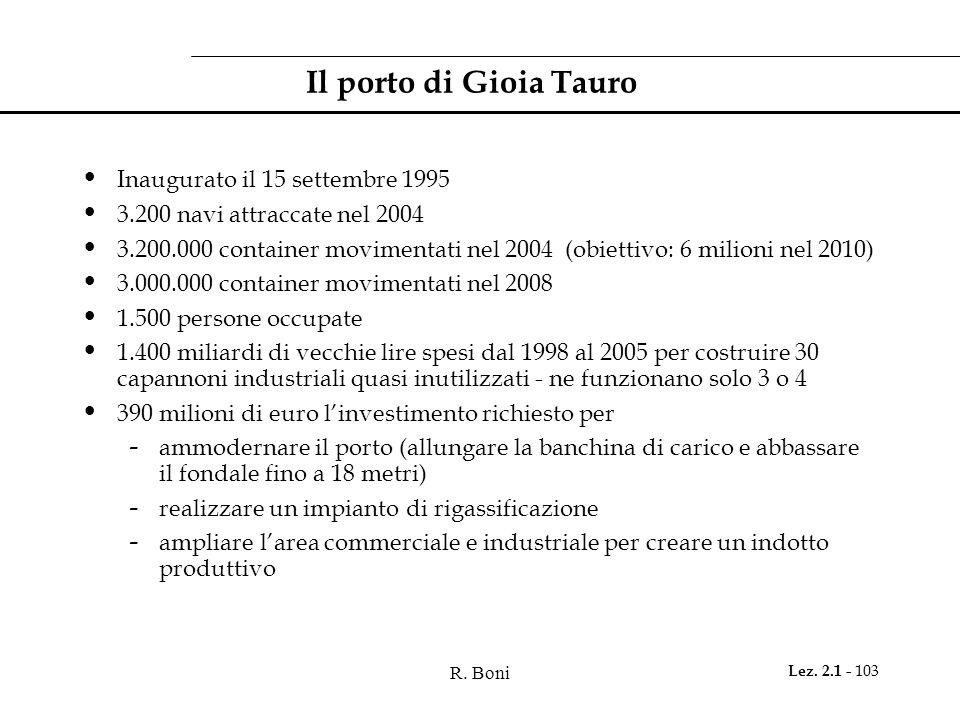 R. Boni Lez. 2.1 - 103 Il porto di Gioia Tauro Inaugurato il 15 settembre 1995 3.200 navi attraccate nel 2004 3.200.000 container movimentati nel 2004