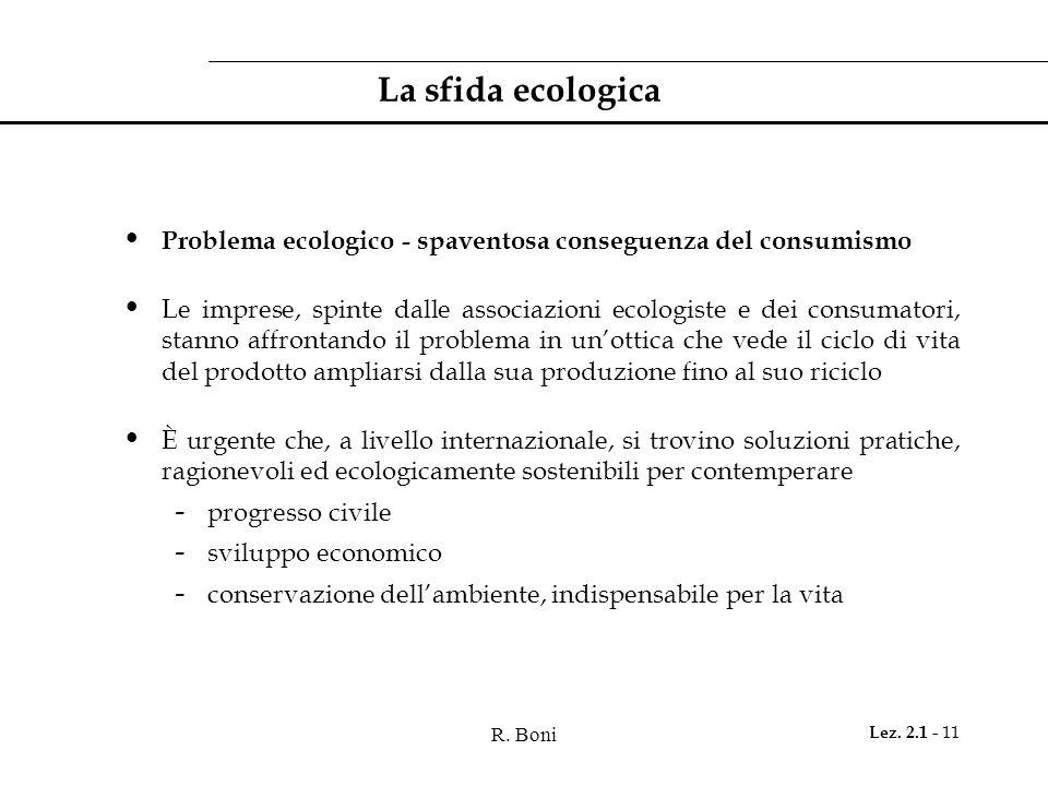 R. Boni Lez. 2.1 - 11 La sfida ecologica Problema ecologico - spaventosa conseguenza del consumismo Le imprese, spinte dalle associazioni ecologiste e