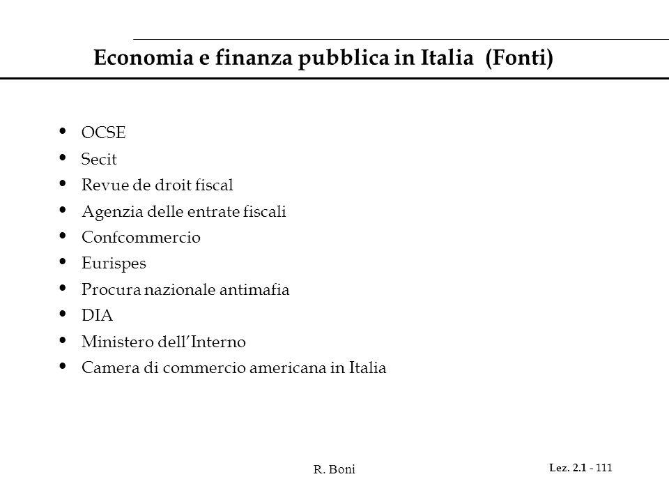 R. Boni Lez. 2.1 - 111 Economia e finanza pubblica in Italia (Fonti) OCSE Secit Revue de droit fiscal Agenzia delle entrate fiscali Confcommercio Euri