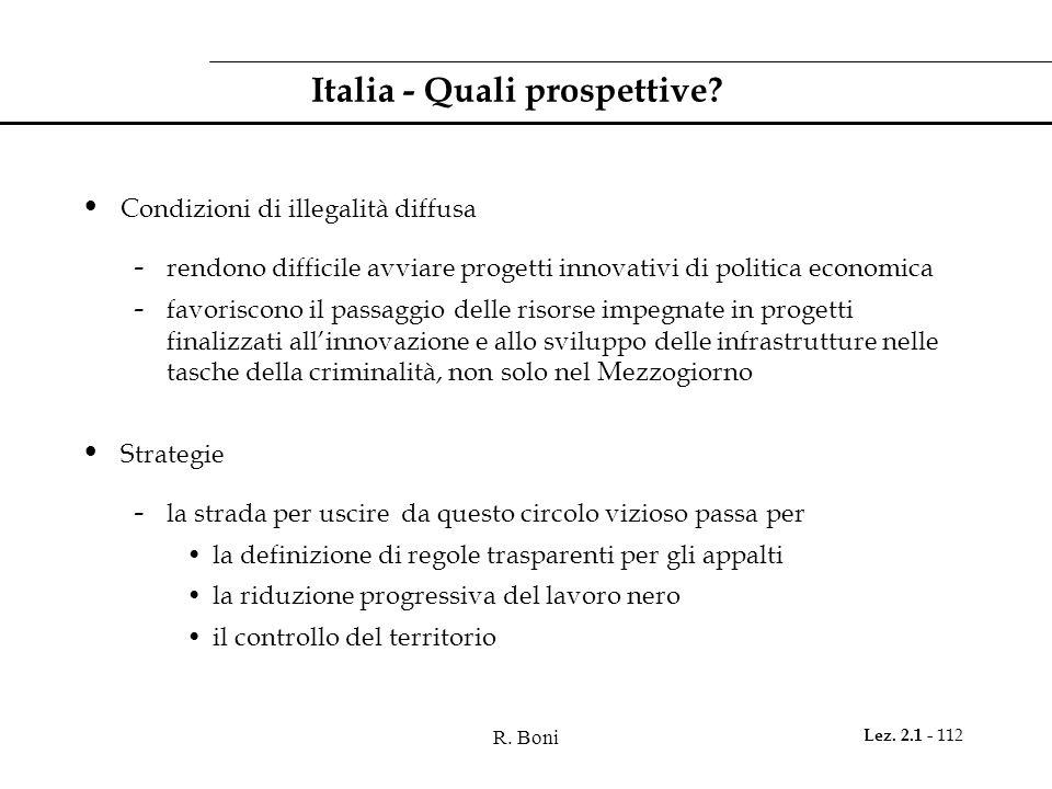 R. Boni Lez. 2.1 - 112 Italia - Quali prospettive? Condizioni di illegalità diffusa - rendono difficile avviare progetti innovativi di politica econom