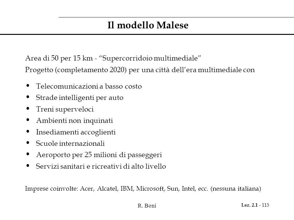 """R. Boni Lez. 2.1 - 115 Il modello Malese Area di 50 per 15 km - """"Supercorridoio multimediale"""" Progetto (completamento 2020) per una città dell'era mul"""
