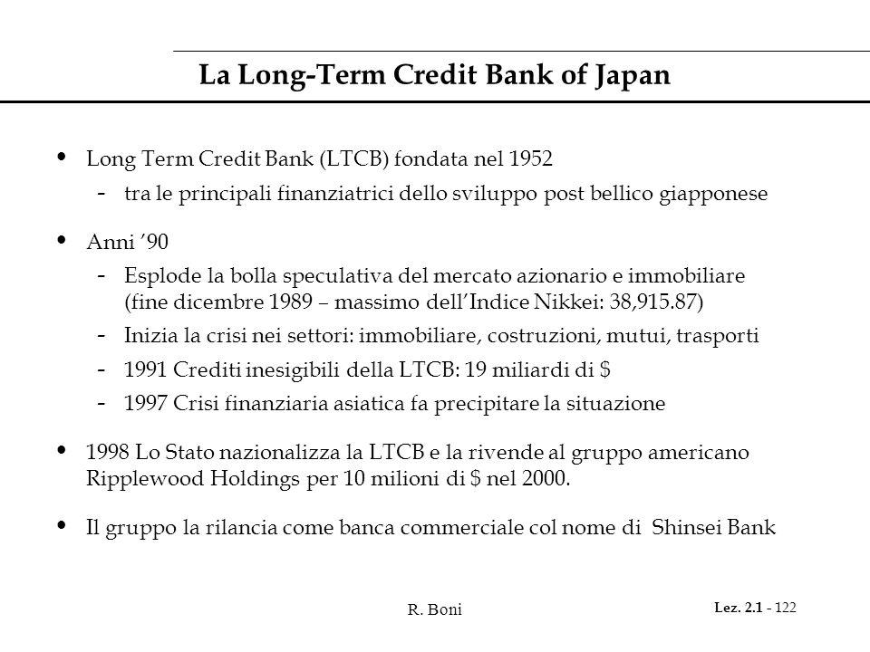 R. Boni Lez. 2.1 - 122 La Long-Term Credit Bank of Japan Long Term Credit Bank (LTCB) fondata nel 1952 - tra le principali finanziatrici dello svilupp