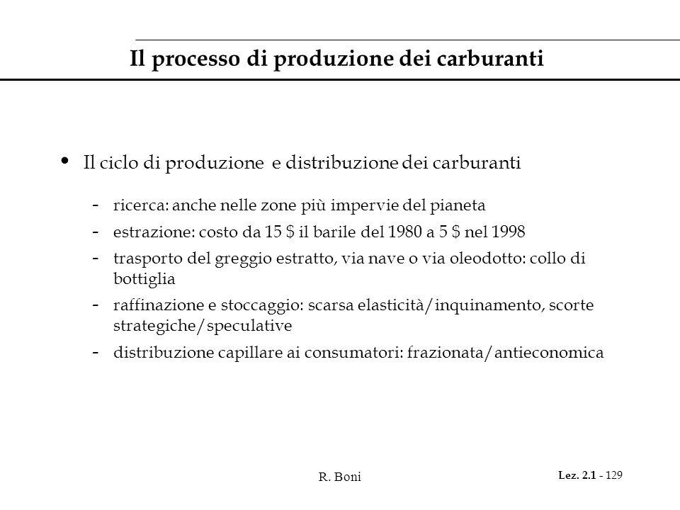 R. Boni Lez. 2.1 - 129 Il processo di produzione dei carburanti Il ciclo di produzione e distribuzione dei carburanti - ricerca: anche nelle zone più