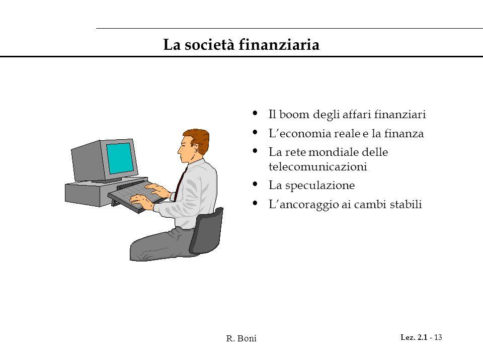 R. Boni Lez. 2.1 - 13 La società finanziaria Il boom degli affari finanziari L'economia reale e la finanza La rete mondiale delle telecomunicazioni La