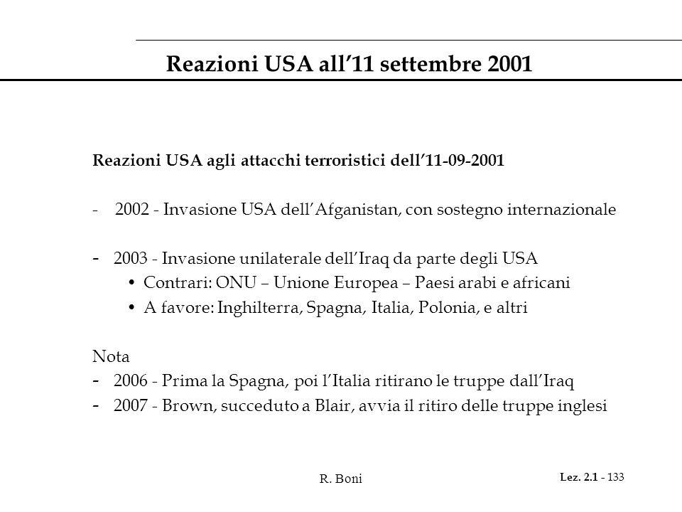 R. Boni Lez. 2.1 - 133 Reazioni USA all'11 settembre 2001 Reazioni USA agli attacchi terroristici dell'11-09-2001 - 2002 - Invasione USA dell'Afganist