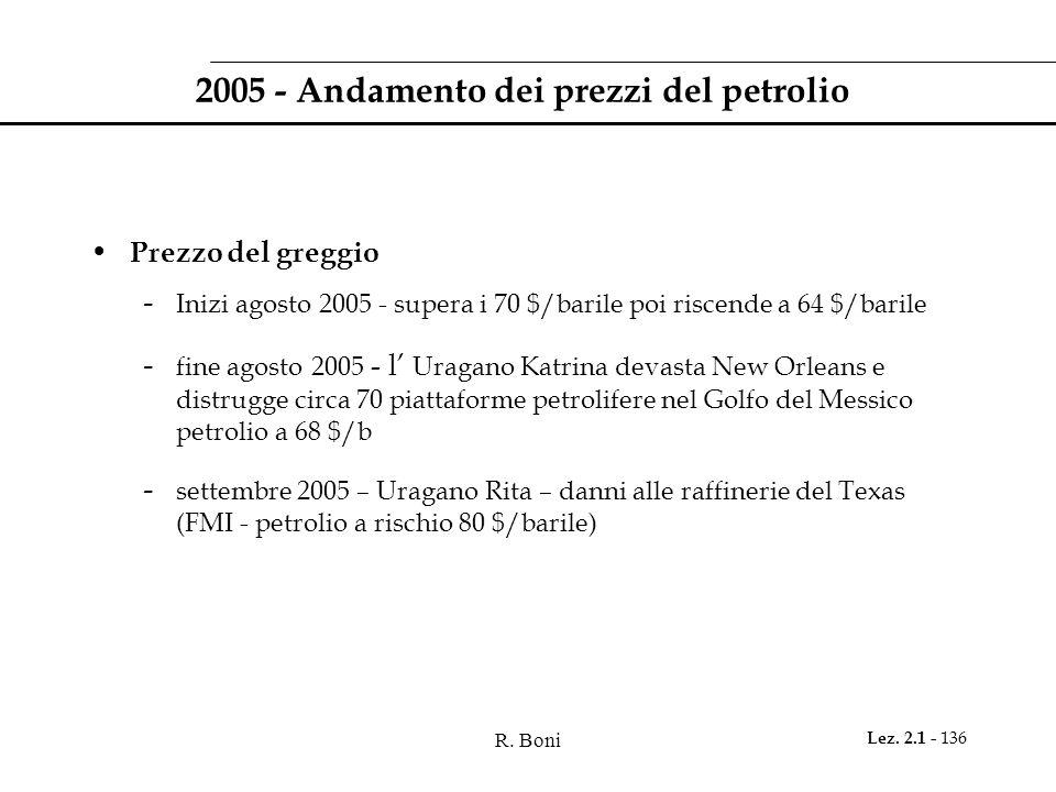 R. Boni Lez. 2.1 - 136 2005 - Andamento dei prezzi del petrolio Prezzo del greggio - Inizi agosto 2005 - supera i 70 $/barile poi riscende a 64 $/bari
