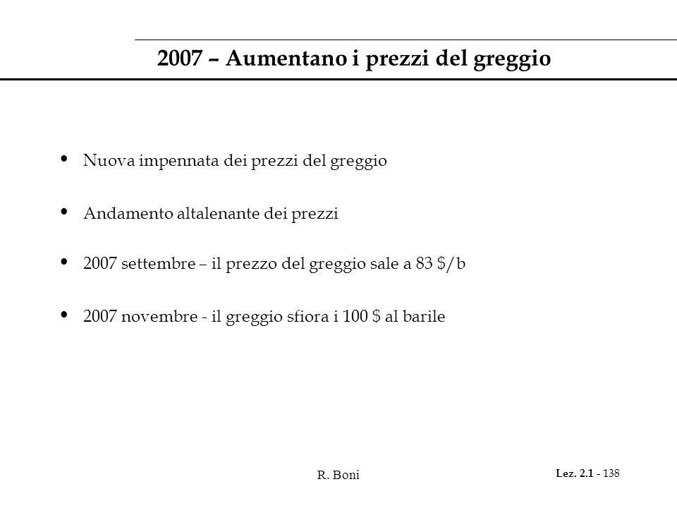 R. Boni Lez. 2.1 - 138 2007 – Aumentano i prezzi del greggio Nuova impennata dei prezzi del greggio Andamento altalenante dei prezzi 2007 settembre –