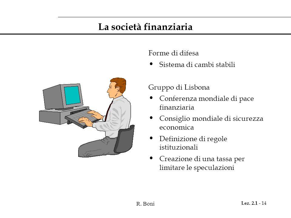 R. Boni Lez. 2.1 - 14 La società finanziaria Forme di difesa Sistema di cambi stabili Gruppo di Lisbona Conferenza mondiale di pace finanziaria Consig
