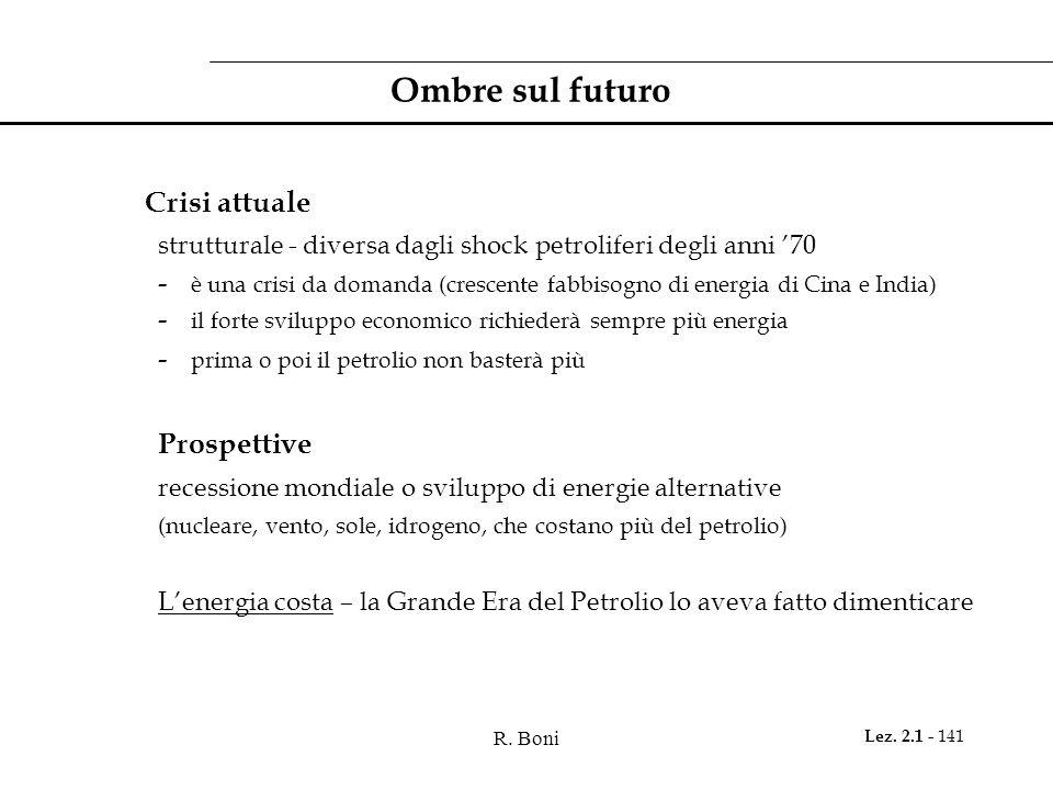 R. Boni Lez. 2.1 - 141 Ombre sul futuro Crisi attuale strutturale - diversa dagli shock petroliferi degli anni '70 - è una crisi da domanda (crescente
