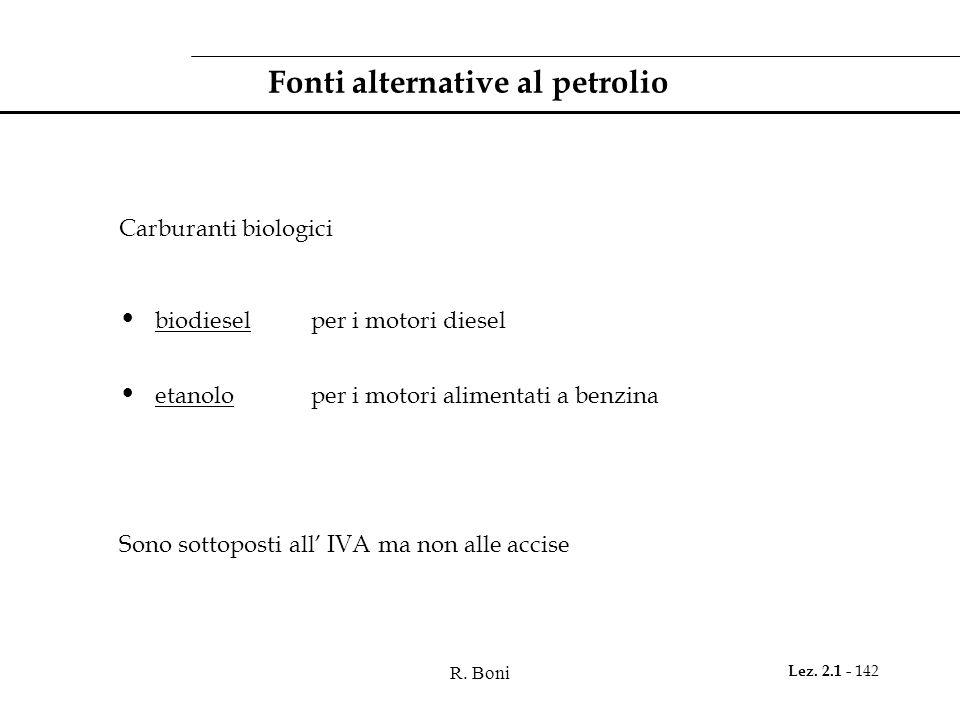 R. Boni Lez. 2.1 - 142 Fonti alternative al petrolio Carburanti biologici biodiesel per i motori diesel etanolo per i motori alimentati a benzina Sono